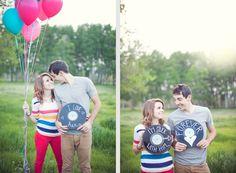 Kimbry Studios Blog: >> Garrett+Adri >> Rexburg Engagement photography: Balloons & Records
