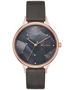 Skagen Women's Anita Rose Gold-Tone Stainless Steel Leather Strap Watch 34mm SKW2390
