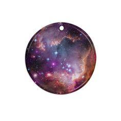 """Suzanne Carter """"Cosmic Cloud"""" Celestial Purple Ceramic Circle Ornament"""