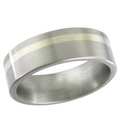 Titanium wedding band with a flat profile and an off-centre 9ct white gold inlay.