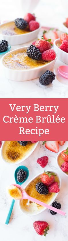 This crème brûlée recipe is creamy and delicious, with rich custard on the bottom and hard caramel on top. The berries on top make it perfect for summer! via @diy_candy