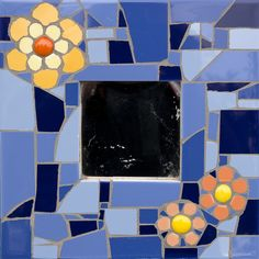 Glazed ceramic mirror with glass nuggets Glazed Ceramic, Mirrors, Frames, Ceramics, Abstract, Grey, Glass, Artwork, Collection