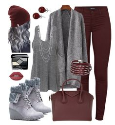 """""""Gray/bordeux"""" by keila-87 on Polyvore featuring moda, J Brand, JustFab, Givenchy, Lime Crime, Christian Dior, Sif Jakobs Jewellery e Lalique"""