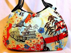 Japanese Bag Purse Hobo Bag Handbag Japanese Print Cotton fabric Kyoto Style Medium size Beige and Light Blue - In Stock. $56.00, via Etsy.