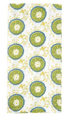 suzani green kitchen towel by rock flower paper