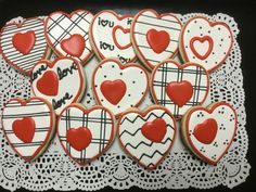 Decorated Heart Valentine Sugar Cookies by I AM the Cookie Lady