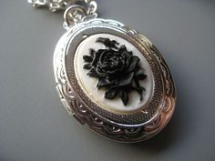 Midnight Rose Cameo Locket - Victorian Jewelry