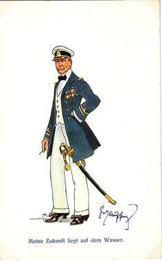Meine Zukunft liegt auf dem Wasser. | Flickr - Photo Sharing! Navy Chief Petty Officer, Austrian Empire, Man Of War, Austro Hungarian, Army & Navy, Sound Of Music, Caricature, Troops, World War