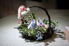 cesta de love birds - alianças casamento