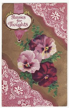Vintage Postcard-Pansies for Thoughts