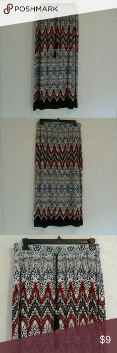 """Cato Maxi Skirt Maxi skirt Size 14/16W 39"""" Long 16"""" Waist and elastc waist with a draw string  Colors: Black, Red, White and Blue 95% Rayon, 5% Spandex  Good Used Condition Cato Skirts Maxi"""