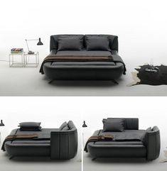 This elegant piece of is both a sofa and a bed by Swiss furniture maker de Sede. As if it wasn't hard enough to get out of bed in the morning already. http://weburbanist.com/2012/10/03/beyond-sofa-beds-7-creative-new-kinds-of-sleeper-couch/#