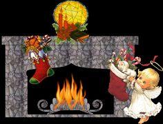 Animated Christmas Fireplace | Fireplaces at Christmas Animated Gifs