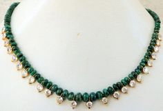 22ct gold & emerald gemstone beads necklace by TRIBALEXPORT, $1799.00 www.tribalexport.com