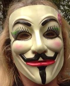 Anonymous Anonymiss Ladies Makeup Custom Mask Guy Fawkes Hand Painted