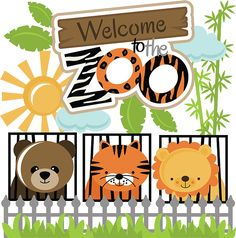 Welcome To The Zoo SVG cut files for scrapbooking zoo svg files lion svg tiger svg bear svg cut file Baby Scrapbook Pages, Scrapbook Titles, Scrapbook Sketches, Scrapbook Paper, Child Draw, Cute Valentines Card, Art Drawings For Kids, Cute Clipart, Christmas Settings