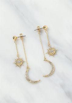 Plus Size Clothing | Rhinestone Moon Chain Drop Earrings | Debshops