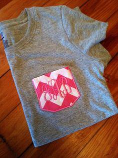 Custom faux pocket chevron stripe monogram pocket tee. Pink chevron monogrammed pocket tshirt.