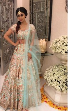 -Bridal Lehenga Store flawlessly modernise Indian costumes and patterns for the millenial Bride. Indian Bridal Fashion, Indian Wedding Outfits, Pakistani Outfits, Dress Wedding, Indian Weddings, Wedding Bridesmaids, Wedding Bells, Indian Attire, Indian Wear