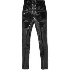Unravel ProjectLace-up Vinyl Skinny Pants ($875) ❤ liked on Polyvore featuring pants, black, skinny trousers, front lace up pants, lace-up pants, vinyl pants and skinny pants