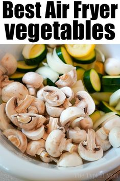 Best air fryer vegetables are here! No breading, just seasonings and mixed vegetables cooked to perfection. A healthy side dish fave. #ninjafoodi #airfryer #airfryerrecipes #vegetables #mixedvegetables #ninjafoodirecipes #ninjafoodigrill #mushrooms #zucchini #yellowsquash