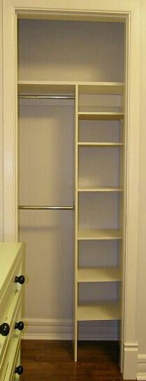 47 trendy bedroom storage for small rooms tiny closet shelves Tiny Closet, Small Closets, Closet Space, Narrow Closet, Closet Rod, Closet Doors, Closet Bedroom, Bedroom Storage, Bathroom Closet