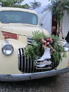Christmas decorated vintage truck