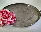 Vintage Silver Serving Tray,Vintage Hammered Silverlook,Serving Tray,Silver Tray,Rustic Wedding,Farmhouse Wedding,Hand Wrought Silver