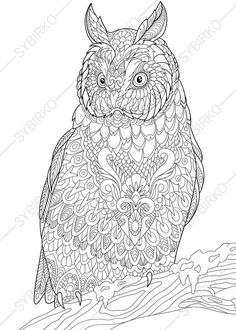 Owl Coloring Pages Animal Book For Adults Instant Download Print