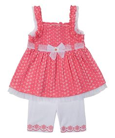 Look at this Pink  Ruffle Dress & White Shorts - Infant, Toddler & Girls on #zulily today!
