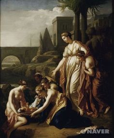 푸생은 1624년 이후 로마에 체류하면서 동시대의 다른 화가들과는 다른 길을 추구했다. 그는 주로 중간 크기의 작품을 그리는 데 몰두했는데, 주제는 신화, 성서, 고대의 역사 등 그 내용에 상관없이 인간의 운명에 대한 성찰을 담고 있다. =나의견해: 물 속에서 구한 모세의 작품에서 모세는 당연히 여인들의 도움을 받고 있는 아기인 듯 싶다. 모세에게 도움을 주는 장면 뿐만 아니라 왼쪽 뒤편에서는 일상생활에서 일하는 장면, 오른쪽에서는 무관심한듯 하지만 쳐다보고 있는 한 남성 등의 장면을 포함하여 주제의 의미를 한층 더 부각 시켜주는 듯 싶다. 서로의 여성들이 얼굴을 쳐다보는 것으로 보았을 때, 모세를 누구의 집에서 키워주냐하는 의견이 분분한 것 같다.
