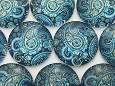 blue paisley glass cabochons 25mm