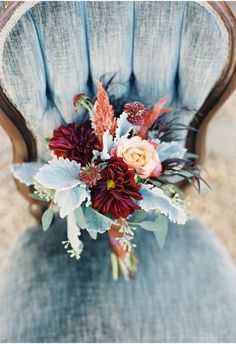 Adam Barnes Photography | Southern Blooms by Pat's Floral Design | via Wedding Sparrow | Pocketful of Sunshine Event Design Inspiration: Dusty Blue & Cranberry