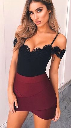 #spring #outfits  Black Cold Shoulder 'Danish Girl' Bodysuit + Wine Bandage Skirt