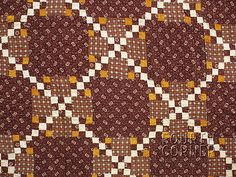 AMAZING-cheddar-brown-IRISH-CHAIN-Double-9-Patch-Zigzag-8-10spi-antique-PA-quilt