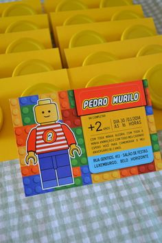 Convites Especial - Tema Lego Design Lego, Lego Jurassic, 7th Birthday, Party Ideas, Gift Ideas, Gifts, Gabriel, Play, Anime