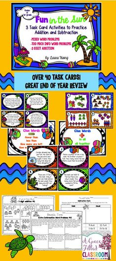 Time to have some fun in the sun with these engaging addition and subtraction word problem task cards! It's a great way to keep your scholar's minds focused even if they have summer on the brain!