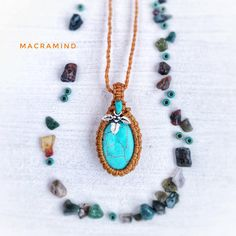 Friendship macrame Necklace with Turquoise gemstone Pendant, Silver and Wood beads - Festival Jewelry - Everyday Jewelry - Gemstone Macrame