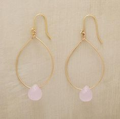 """Unerringly elegant, rose quartz teardrops hover within 12kt goldfill loops. 14kt goldplated earwires. Handmade in USA. Exclusive. Approx. 2-1/4""""L."""