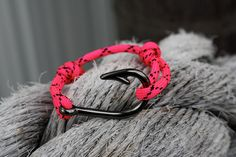 Gunmetal fish hook bracelet with pink and by CoastalCreations305, $11.99