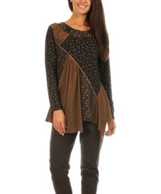 Look what I found on #zulily! Chocolate & Black Abstract Patchwork Sweater - Plus Too #zulilyfinds