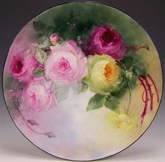 """ROMANTIC VICTORIAN ROSES"""" Absolutely Stunning Large 16"""" Antique Handpainted Dish"""