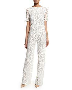 Kendra Floral-Lace Jumpsuit, White by Diane von Furstenberg at Bergdorf Goodman. Great for a city girl who is getting marry at City Hall