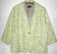 TALBOTS WOMAN Tweed Blazer Green Jacket retro 60s Jackie O basketweave 16W 1X