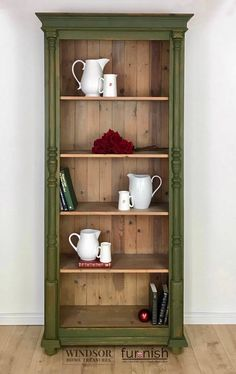 Your place to buy and sell all things handmade Pine Bookcase, Large Bookcase, Bookcase White, Vintage Bookcase, Hand Painted Furniture, Paint Furniture, Furniture Makeover, Kitchen Furniture, Furniture Making
