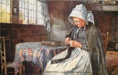 woman knitting, Anne Hathaway's Cottage, Stratford-on-Avon. Tuck Postcards. Lovely