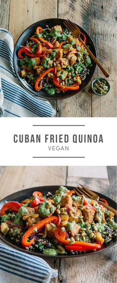 Vegan Cuban Fried Quinoa recipe. Tempeh, black beans, pineapple and mojo sauce. Recipe here: https://greenchef.com/recipes/ex-cuban-fried-quinoa-with-tempeh-with-cilantro-mojo?utm_source=pinterest&utm_medium=link&utm_campaign=social&utm_content=Vegan-cuban-quinoa-link
