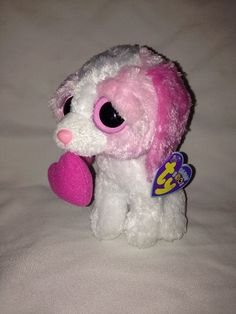 99441a0e4a3 2011 TY BEANIE BOO COOKIE PINK   WHITE PUPPY DOG LARGE 9