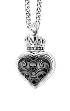 Carved Jet Heart with Silver Crown #kingbaby #kingbabystudio #jewelry #silver #mensfashion #forthechosenfew #madeinusa #pendant