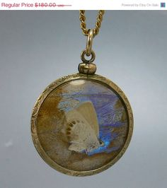 #jewelry Victorian 10K Gold Real Butterfly Under Glass Double by jujubee1.etsy.com  , $162.00